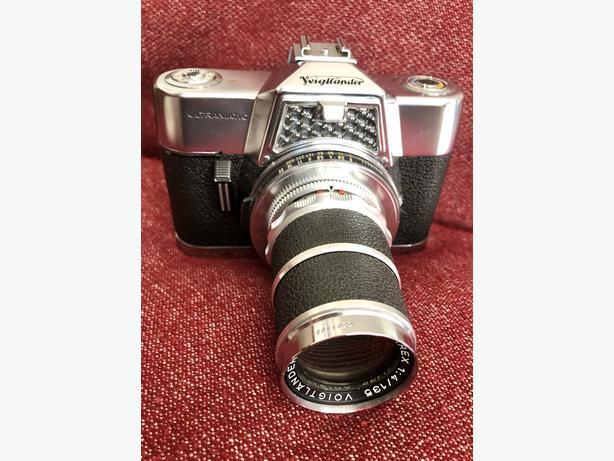 Voigtlander Ultramatic film camera with Voigtlander f4 135mm Super-Dynarex Lens