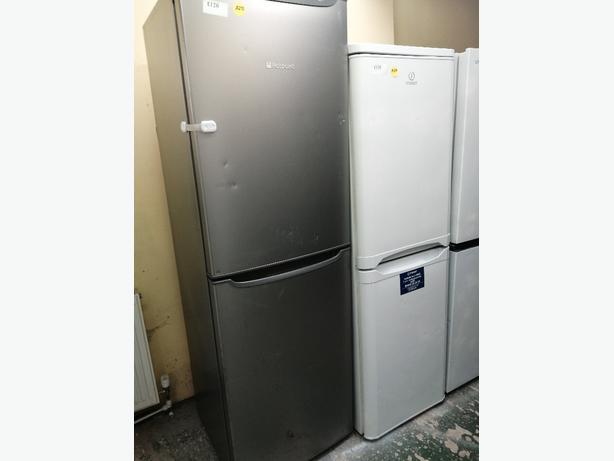 Hotpoint tall fridge freezer silver with warranty at Recyk Appliances