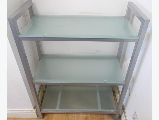 3 Tier Shelf Unit Glass & Steel