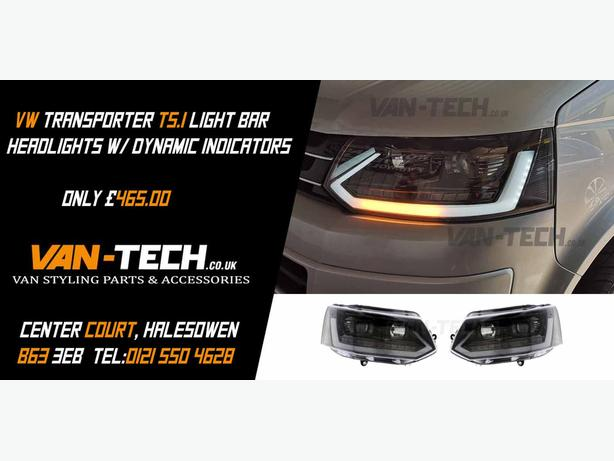 VW Transporter T5.1 Light Bar Headlights w/ Dynamic Indicators
