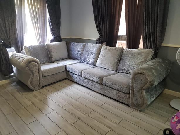 silver crush velvet cormer sofa