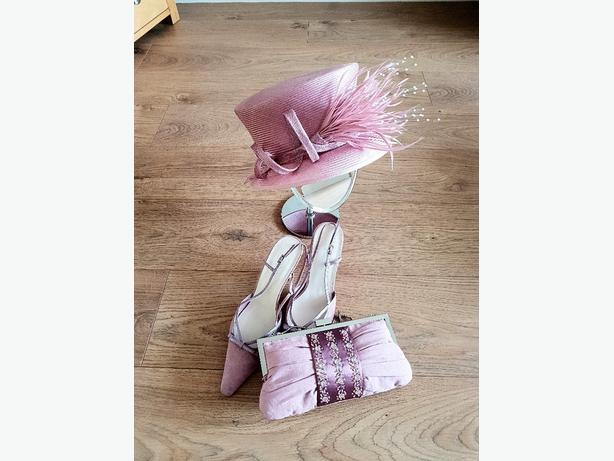 Hat shoes clutch bag. Dusky Pink. Wedding/Ascot/Occasion