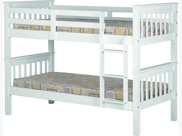 white brandnew pine bunkbed