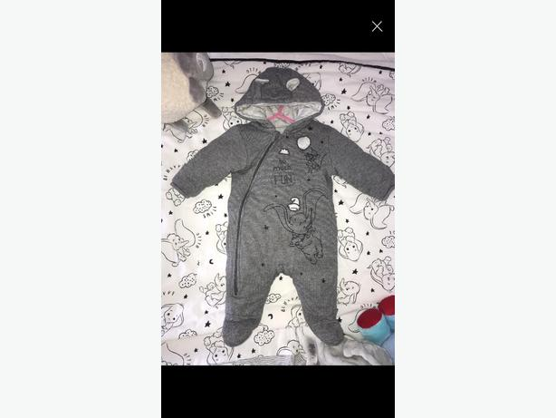 0-3 grey dumbo snowsuit