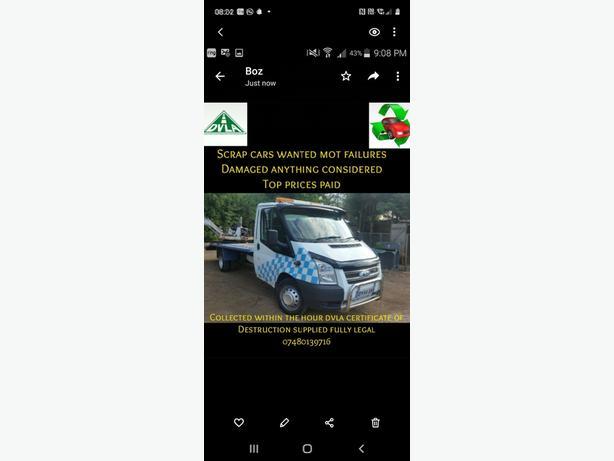 WANTED:  SCRAP CARS MIN £200