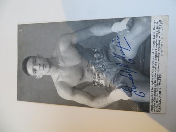 signed postcard of boxer Randolf Turpin