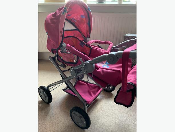 Knorr Toys Pink with Butterfly Dolls Pram and Buggy