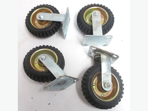 4x Heavy Duty Solid Rubber Trolley Tyres