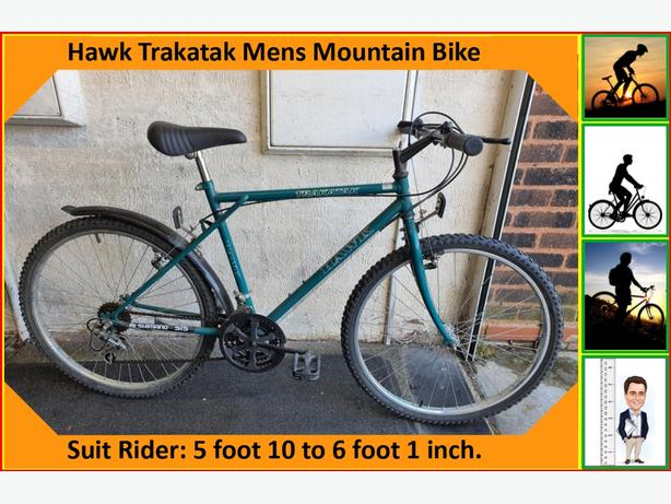 Hawk Trakatak Mens Bike. 18 speed. 26 inch wheels.