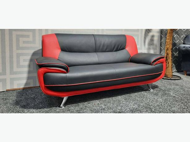 3 seater sofa in red and black Open to sensible offers.