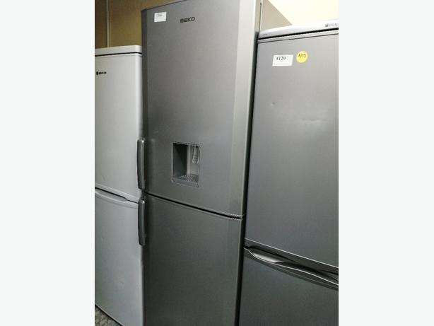 Beko tall fridge freezer silver with water dispenser at Recyk Appliances