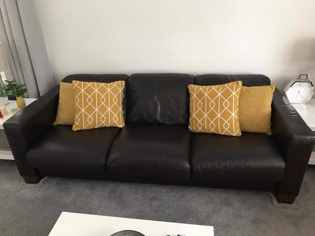 Modern Dark Brown Real Leather 3 seater sofa and 2 seater sofa and armchair