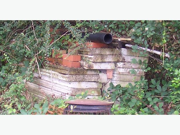 Concrete section panels (approx 30 pieces) for building garden sheds