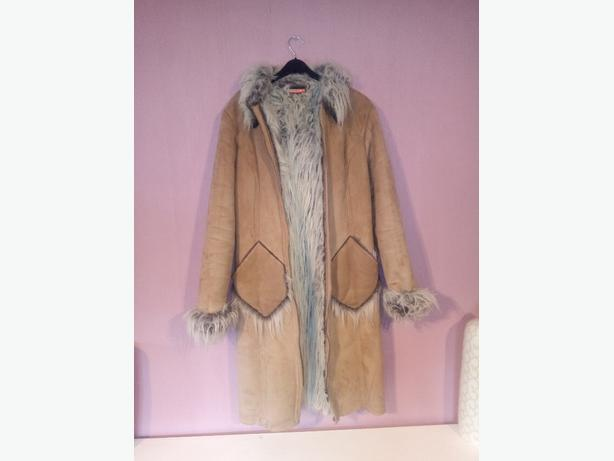 ladies size 12 faux sheepskin coat