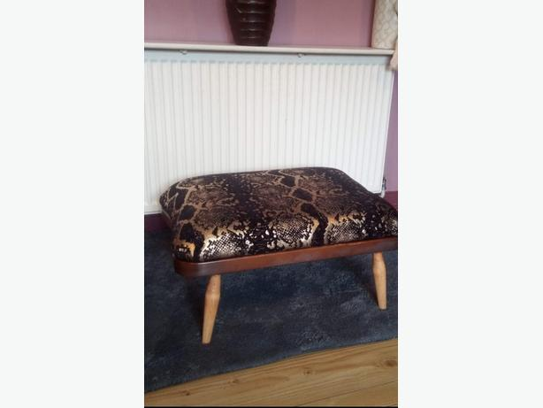 ERCOL 341 RE UPHOLSTERED FOOTSTOOL