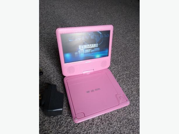 """7"""" Bush portable DVD T-702Pink Inbuilt rechargeable battery"""