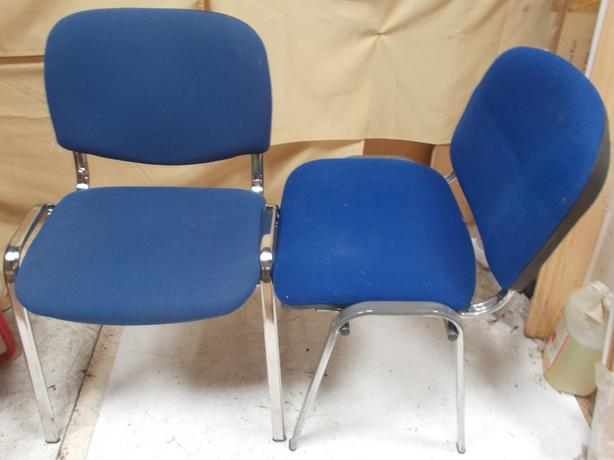 2 Blue Stackable Chairs