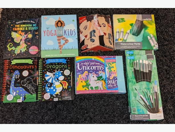 NEW 3 for £5 colouring books, paints, brushes