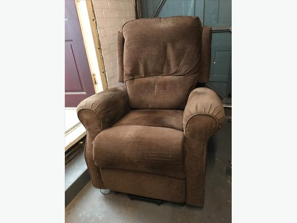 brown fabric rise and recline electric armchair