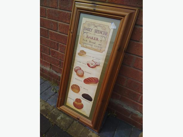 Bakery poster and frame