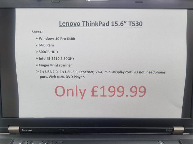 """LENOVO THINKPAD 15.6"""" T530"""