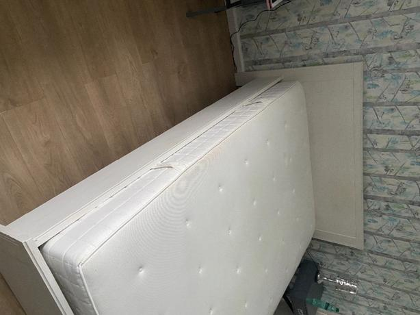 ikea double bed, mattress and 2 storage drawers