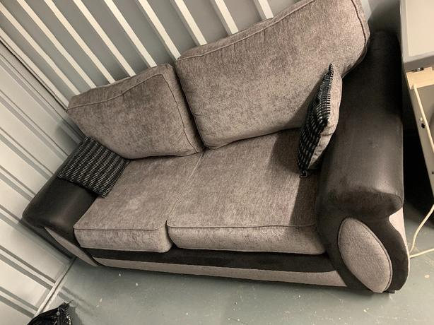 3 seater sofa, love chair and pouffe