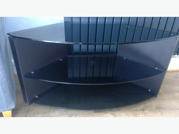 Lovely smoked glass and leather tv Stand.