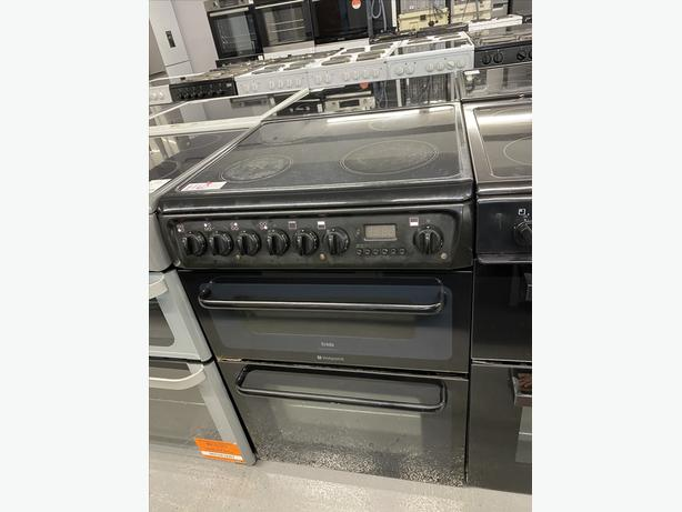 🟩🟩 60CM WIDE ELECTRIC BLACK HOTPOINT COOKER WITH GUARANTEE