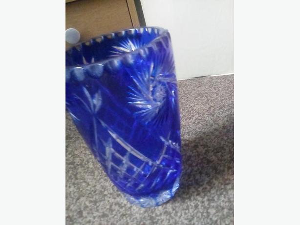 Blue crystal vase