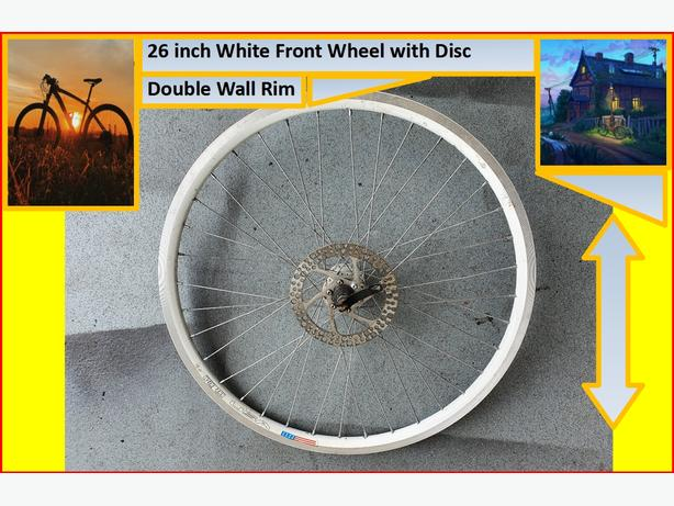 26 inch White Front Wheel with disc.