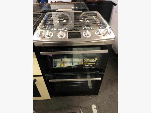 NEW/GRADED ZANUSSI ZCK66350XA 60cm Dual Fuel Cooker - Stainless Steel