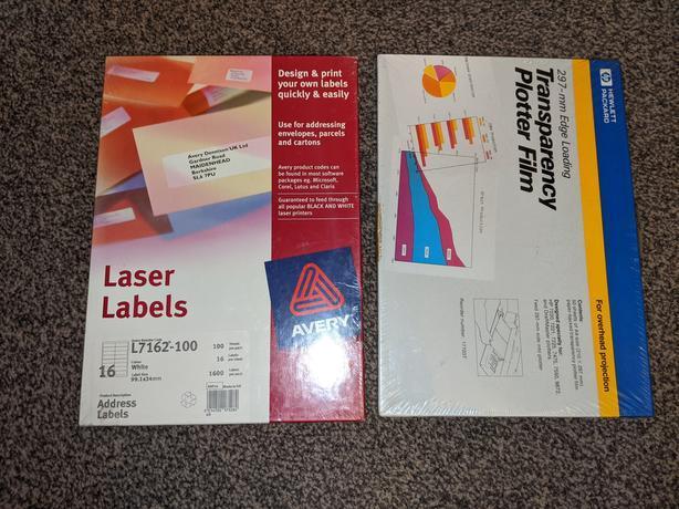 Laser labels & HP Transparency plotter Film