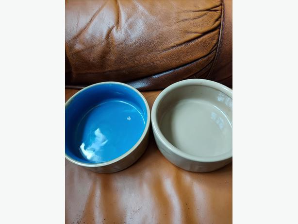 2 Ceramic Guinea Pig/Rabbit Dishes