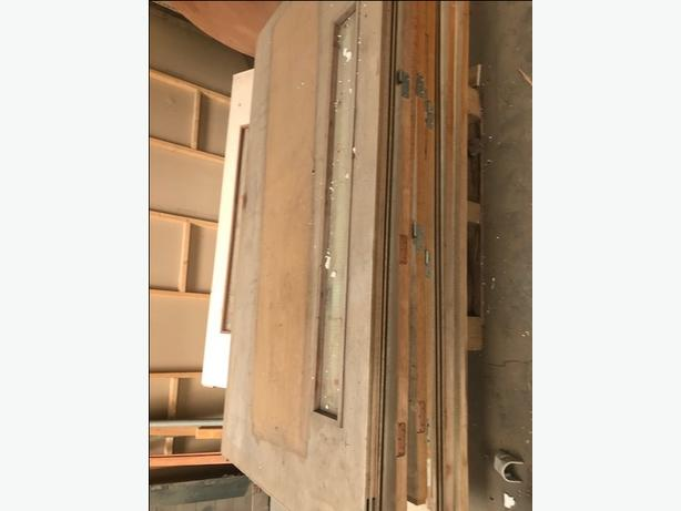 part glazed timber fire door with glass panel 229.5cm high