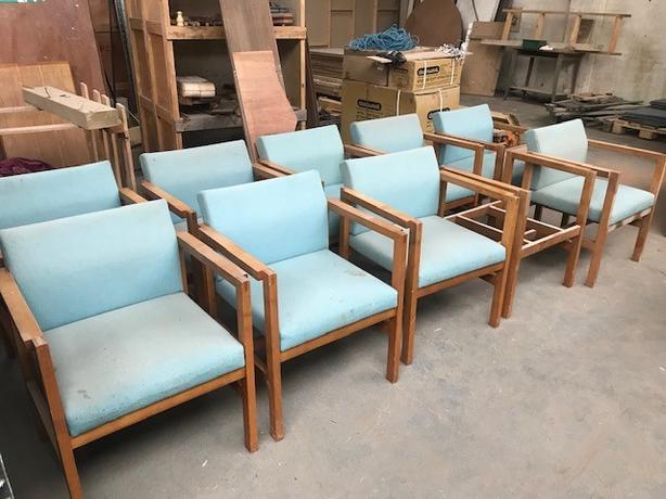Vintage retro wooden frame armchair chair