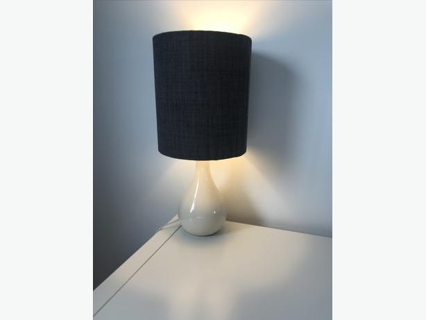 Pair of bedside table lamps with grey lampshades