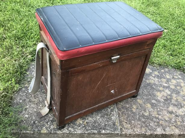 Vintage wooden fishing box stool with padded seat
