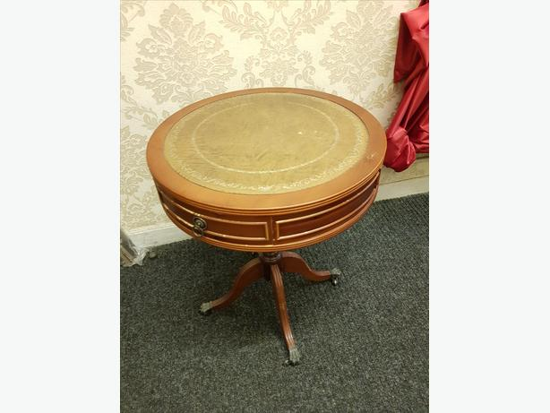 Nice Antique Leather Top Round Drum Table with Drawers & Metal Claw Feet