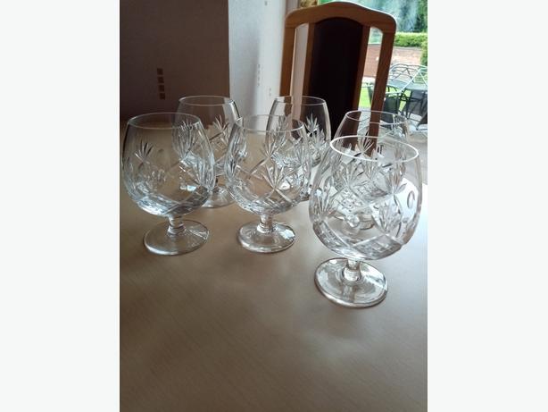 6 Cut glass brandy glasses