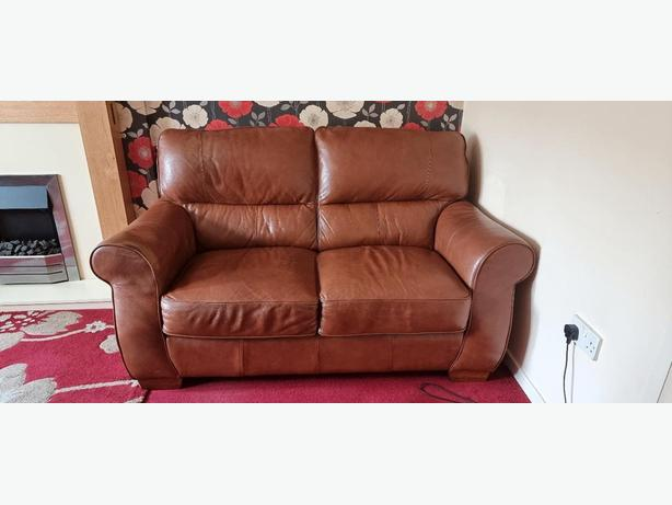 tan leather 2 seater sofa+clean+good condition+DELIVERY