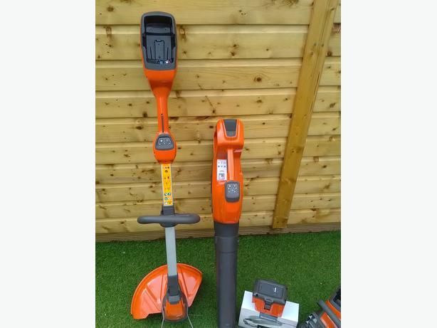 Husqvarna battery grass strimmer, chainsaw & leaf blower all new