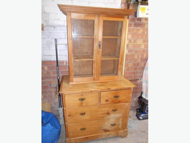 Pine chest of drawers and display cabinet