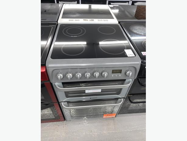 PLANET APPLIANCE - 60CM HOTPOINT GREY ELECTRIC COOKER
