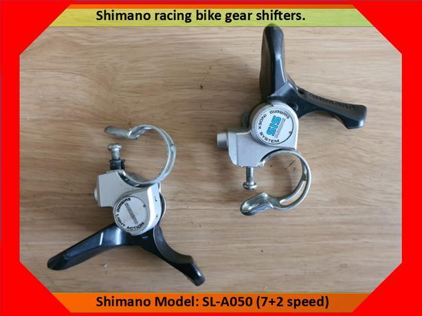 Shimano trigger gear shifters.