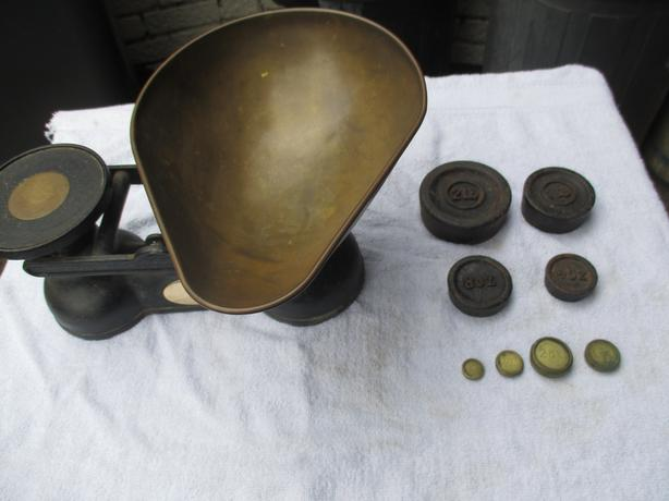 set of old type salter weighing scales and weights