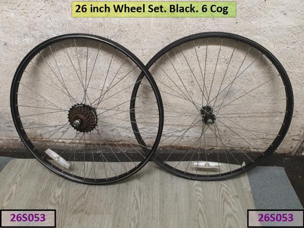 26 inch Wheel Set. Black. 6 cog.