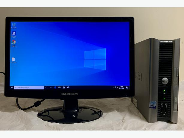 Dell Optiplex Ultra Small Form Computer Desktop Pc With 19 LCD Screen
