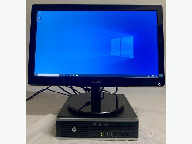 HP Elite Ultra Slim Form Computer Desktop PC & Phillips 19 Widescreen