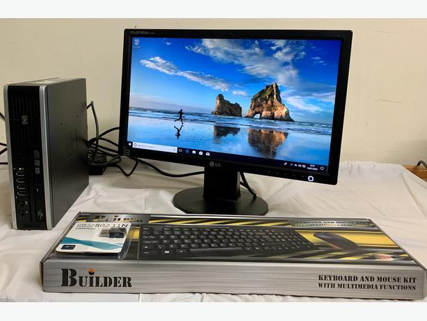 HP Elite Ultra Slim Form Computer Desktop PC & LG 19 Widescreen